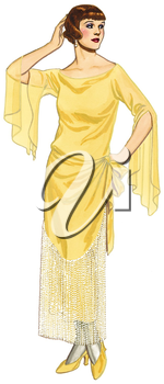 Royalty Free Clipart Image of a Woman in 20s Fashion