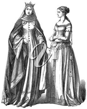 Royalty Free Clipart Image of a Queen and Lady in Waiting
