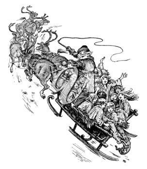 Royalty Free Clipart Image of Santa in His Sleigh
