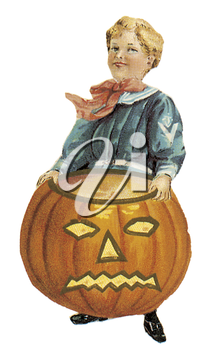 Royalty Free Clipart Image of a Child With a Jack-o-Lantern