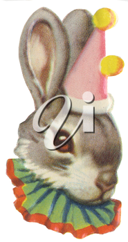 Royalty Free Clipart Image of a Bunny in a Party Hat