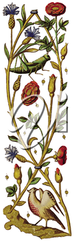 Royalty Free Clipart Image of a Bird and Flower Runner