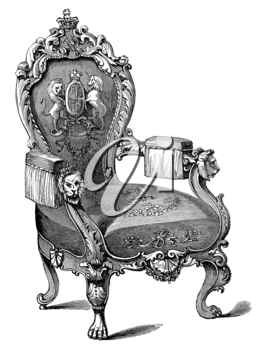 Royalty Free Clipart Image of an Antique Chair