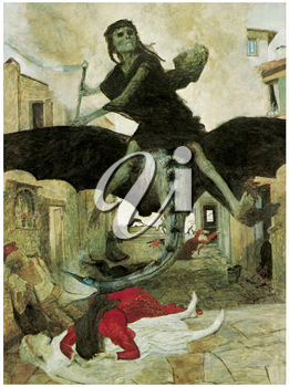 Royalty Free Clipart Image of The Plague by Arnold Bocklin