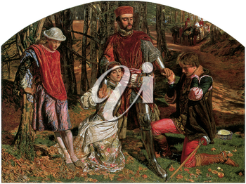 Royalty Free Clipart Image of Valentine Rescuing Sylvia From Proteus by William Holman Hunt