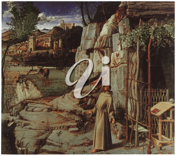 Royalty Free Clipart Image of St. Francis in the Desert by Giovanni Bellini