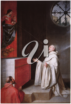 Royalty Free Clipart Image of St. Bernard and the Virgin by Alonso Cano