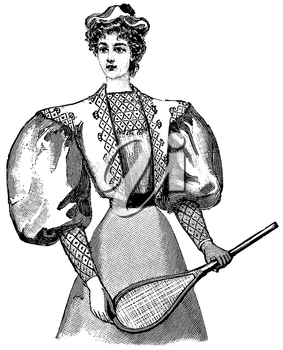 Royalty Free Clipart Image of a Lady Tennis Player
