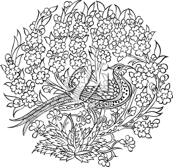 Royalty Free Clipart Image of a Peacock on Plants