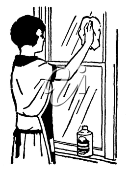 Royalty Free Clipart Image of a Woman Cleaning a Window