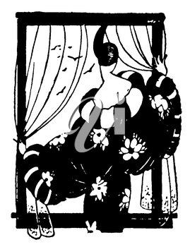 Royalty Free Clipart Image of a Woman Gazing Out the Window