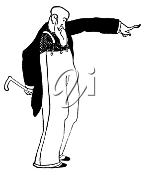 Royalty Free Clipart Image of an Old Man Pointing