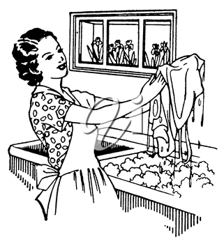 Royalty Free Clipart Image of a Woman Doing Laundry