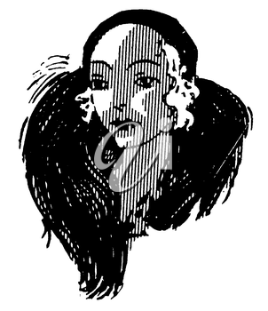 Royalty Free Clipart Image of a Portrait of a Woman's Face