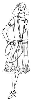 Royalty Free Clipart Image of a Woman Posing