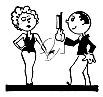 Royalty Free Clipart Image of a Cartoon Man and Woman Putting on a Show
