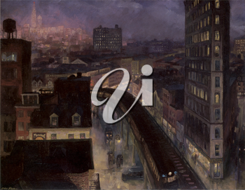 Royalty Free Clipart Image of a Painting of New York