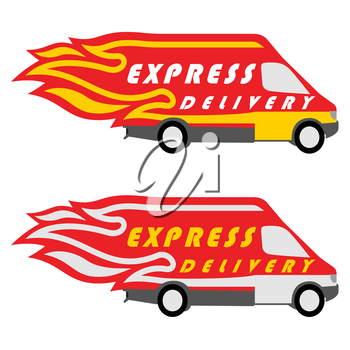 Express Delivery Symbols. Yellow-Red and Yellow-Silver Variations. Vector illustration
