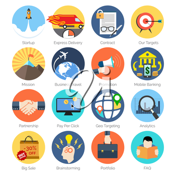 Set of colorful icons in modern flat design for Business, SEO and  Marketing. Vector Illustration.