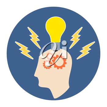 Brainstorming Icon. Flat style illustration. Isolated in colored circle on white background.