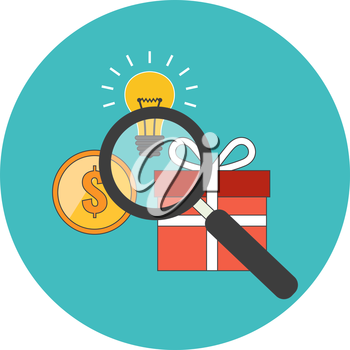Efficient search concept. Flat design. Icon in turquoise circle on white background