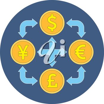 Currency exchange concept. Flat design. Icon in blue circle on white background