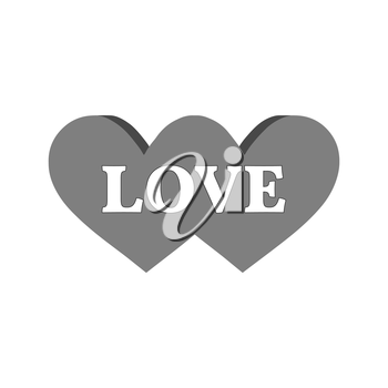Two united hearts with word love, couple concept icon. Symbol in trendy flat style isolated on white background. Illustration element for your web site design, logo, app, UI.