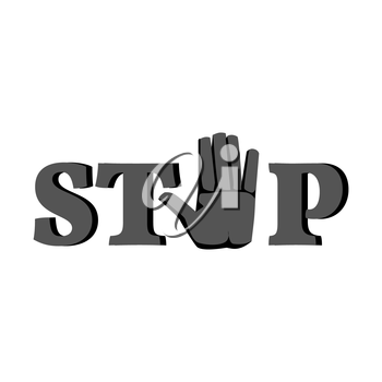 Word Stop with hand sign icon. Isolated on white background.
