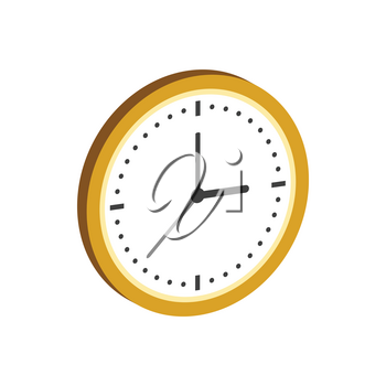 Clock symbol. Flat Isometric Icon or Logo. 3D Style Pictogram for Web Design, UI, Mobile App, Infographic. Vector Illustration on white background.
