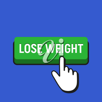 Hand Mouse Cursor Clicks the Lose Weight Button. Pointer Push Press Button Concept.