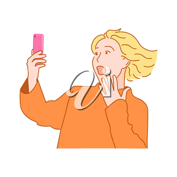 Surprised blond girl with fluttering hair and open mouth stares into the smartphone. Hand drawn style doodle design illustration