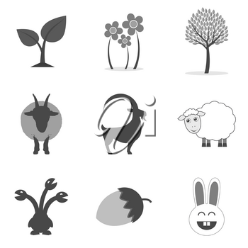 Set of nature icons and symbols in trendy flat style isolated on white background. Vector illustration elements for your web site design, logo, app, UI.