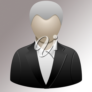 Illustration of a man in a black suit.