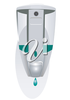 Dispenser for liquid soap on a white background with a soap drop