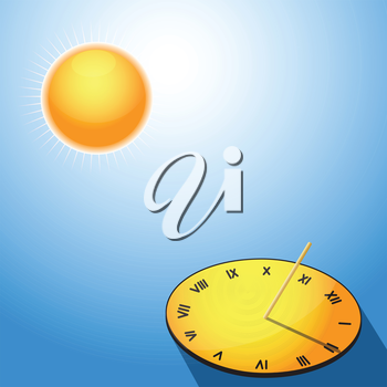 Illustration of the sun and sundials on a blue background