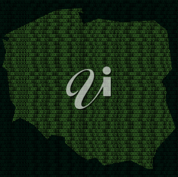 Illustration of silhouette of Poland from binary digits on background of binary digits
