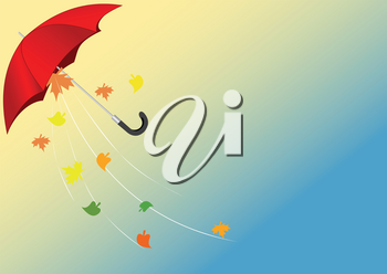 Illustration of a red umbrella flying from the wind with autumn leaves