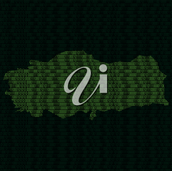 Illustration of silhouette of Turkey from binary digits on background of binary digits