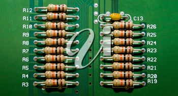 Background from the circuit board of the electronic device with resistors close-up