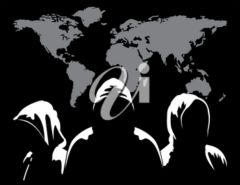 Illustration of silhouettes of three anonymous and maps the world on a dark background of binary digits