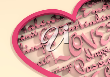 Love and heart. Heart shaped keyhole filled by words relative St. Valentines day. Image for greeting. Cutout silhouette of the heart,