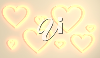 San Valentine card with heart shapes holes in 3D effect. Glowing outline icons