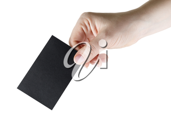 Black black business card in hand. Isolated on white. Clipping path. Mock-up for branding identity for design presentations and portfolios.