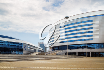 MINSK, BELARUS - MAY 03, 2016: Minsk-Arena - a sports and entertainment complex in the city of Minsk, Belarus. Modern industrial building of hockey stadium and a velodrome.