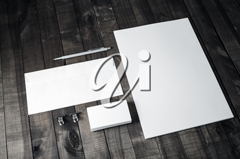 Branding template on wooden table background. Blank stationery. Mockup for branding identity for placing your design.