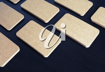 Blank brown paper business cards mockup. Template for branding ID.