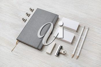 Business stationery mock-up. Blank template for branding identity on light wooden background. For graphic designers portfolios.