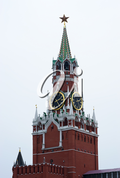 Vertical Moscow Kremlin clock tower background