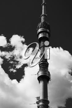 Vertical black and white Moscow television tower background