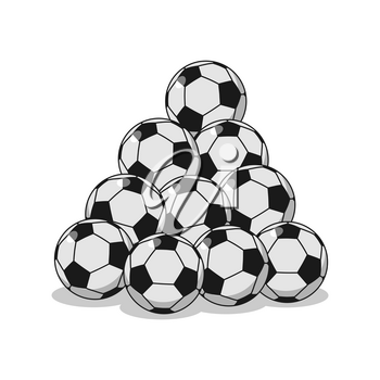 Pile of football. Many soccer balls. Sports accessory